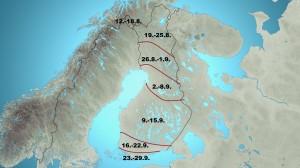 Kuva 1: Termisen syksyn keskimäärinen alkamisajankohta (kuva: Markus Mäntykannas/MTV)
