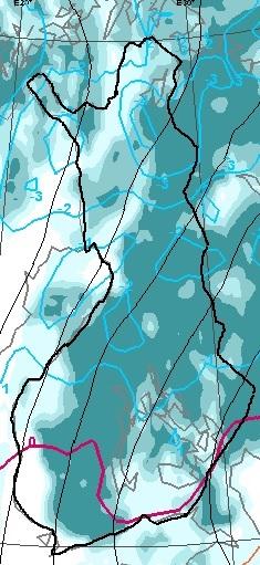 Ennustettu näkyvyyttä haittaava pilvisyys maanantaina aamukuudelta (Kuva: Foreca)
