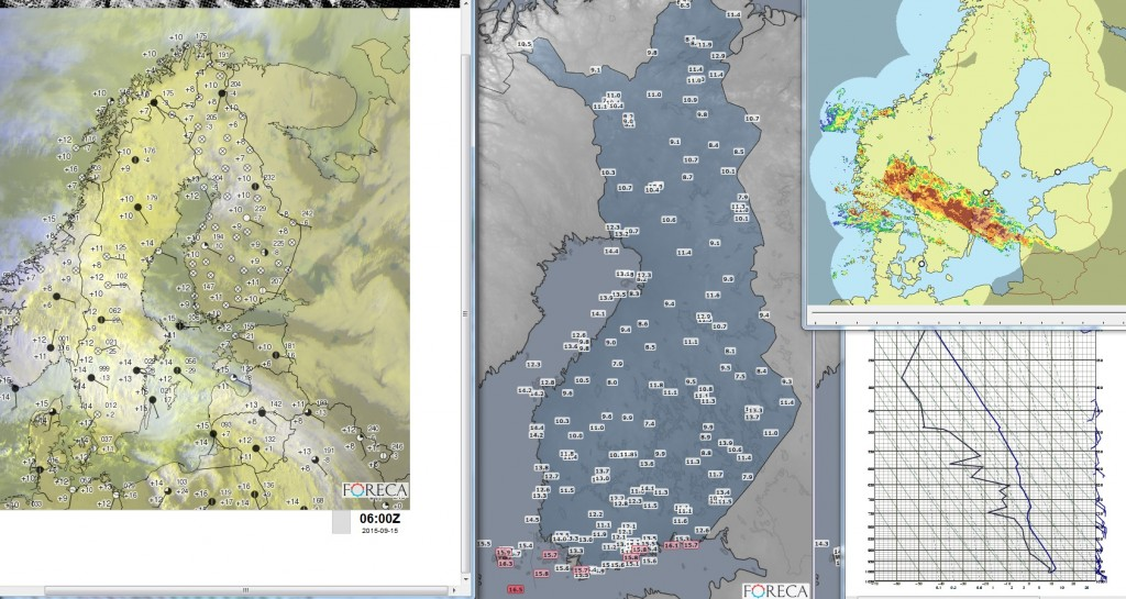 Meteorologin tutkiessa havaintoja tietokoneen työpöytä voi näyttää esimerkiksi tältä (kuva: Foreca)