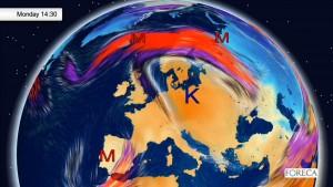 Kuva 1: Voimakas läntinen suihkuvirtaus asettuu Suomen ylle viikonvaihteessa ja kuulumme keskileveysasteiden lämpimän ilmamassan piiriin. Useatkin föhntuulipäivät ovat mahdollisia (kuva: Foreca).