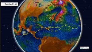 Kuva 2: Afrikan itäaalto voi matkata aina itäiselle Tyynellemerelle saakka, jossa se voi joko itsessään tai MCS:n avustamana lämpimän merialueen yllä toimia provokaattorina hurrikaanille. Patrician syntyseutuvilla meren pintaveden lämpötila oli jopa yli 30-asteista (kuva: Markus M/Foreca)