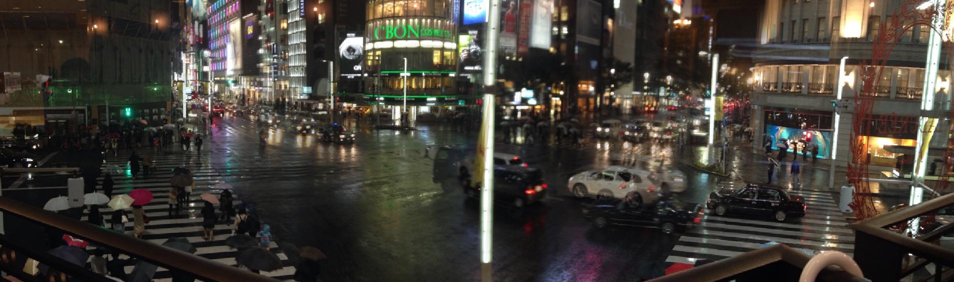 Sateinen Tokion Ginzan kaupunginosa (kuva: Joanna Rinne)
