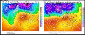 Kuva 1: Suomentammi- ja helmikuun lämpöennätykset ovat syntyneet hyvin samantyyppisessä suursäätilassa voimakkaan länsi- tai luoteisvirtauksen aikana (todennäköisesti föhn). Kuva: Wetterzentrale