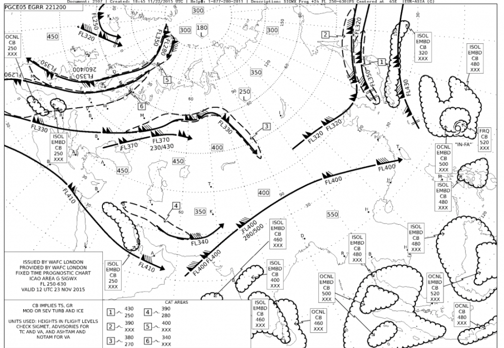 Lentäjille suunnattu SWC-kartta 23.11.2015 klo 12 UTC (lähde: Met Office, flightworks.com)