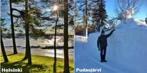 Kuva 2: Helmikuun lumitilanteessa oli suuria eroja etelän ja pohjoisen välillä (kuvat: Markus M. / Tuomas T. / Helsinki ja Pudasjärvi)