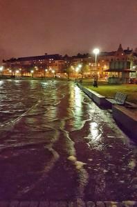Kuva 16: Merivesi nousi katutasolle Helsingin Eiranrannassa joulukuun 4. päivänä (kuva: Markus M.)