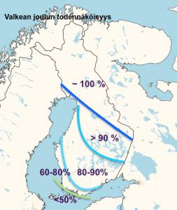 Kuva 1: Valkean joulun todennäköisyys Suomessa