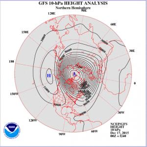 Kuva 3: NOAA:n ennuste geopotentiaalijakaumasta (10 hPa) joulukuun loppupuolelle. Tiivis polaaripyörre näyttäisi pitävän pintansa stratosfäärissä, jolloin länsivirtaukset ja matalapainetoiminta pysyy vilkkaana. /kuva: NOAA