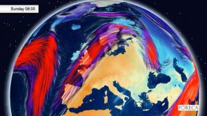 Kuva 1: Vuodenaikaan nähden hyvin lämmin ilmamassa leviää Etelä- ja Keski-Suomeen sunnuntaiyönä.