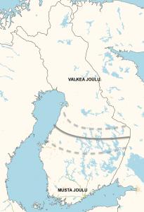 Kuva 2: Perjantaisten ennusteiden perusteella näyttää siltä, että mustan joulun raja kulkee kuta kuinkin maan keskivaiheilla. Pohjoisimmillaan lumet saattavat sulaa pois Pohjois-Karjala - Oulu -linjalta ennen joulua.