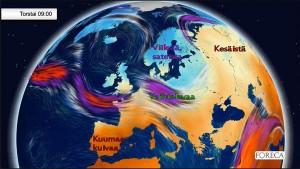 """Kuva 6: Pohjois-Eurooppa jäi toukokuussa lähes poikkeuksetta suihkuvirtauksen """"kylmään kuoppaan"""" (kuva: Foreca)."""
