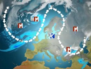 Suihkuvirtaus on muodostamassa loppuvuoden viimeisinä päivinä Ω -muotoisen virtauskentän sallien laajan korkeapaineen syntymisen Suomen lähettyville. (Kuva: Markus M / MTV)
