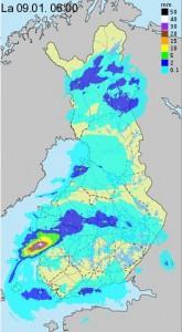 Suomen 24 tunnin sadekertymä tutkakuvan perusteella alkaen 8.1.2016 klo 08 (kuva: Foreca)