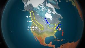 """Kuva 1: Yhdysvalloissa vuoristo, suuret järvialueet sekä lämpimän Atlantin valtameren läheisyys aiheuttavat monilla alueilla erittäin suuria lumikertymiä. Kalliovuorten alueilla läntiset ja kosteat ilmavirtaukset joutuvat pakotettuun nousuun, jolloin vuoristolla sataa paljonkin lunta. Suuret Järvet aiheuttavat talvisin arktisen ilmamassan purkausten yhteydessä """"lake-effect snow"""" -ilmiön, kun taas itärannikolla voimakkaat sateet saavat enegiansa Golfvirran lämmittämästä Atlantista. (kuva: Markus M/MTV)"""