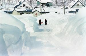 Kuva 2: Hokkaidon saarella Pohjois-Japanissa talviset lumikertymät voivat kasvaa hyvin suuriksi. (Kuva: Flickr, Creative Commons; käyttäjä: threepinner)