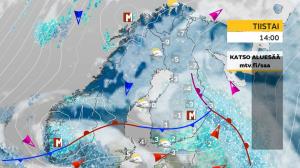 Kuva 2: Kylminä vuodenaikoina suurin osa Suomeen saapuvista sateista liittyy säärintamiin. (kuva: MTV Uutiset)