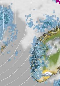 Kuva 3: Atlantilta saapuvat kosteat lounais- ja länsivirtaukset laukaisevat Norjan vuoristolla usein rankkojakin orografisia sateita, kun taas vuoriston itäpuolella sää voi olla täysin poutaista ja aurinkoista. (kuva: MTV Uutiset)