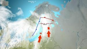 Kuva 1: Sunnuntaina Etelä- ja Keski-Suomi kuuluivat nk. lämpimään sektoriin, jossa meille virtasi hyvin lauhaa ja kosteaa ilmaa etelästä. Monin paikoin muodostui paksu vettä satava sumukerros. (kuva: Markus M/MTV Uutiset)