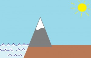 Föhn-tuuli syntyy vuoriston suojanpuolelle (Kuva: Paint-taide by Joanna Rinne)