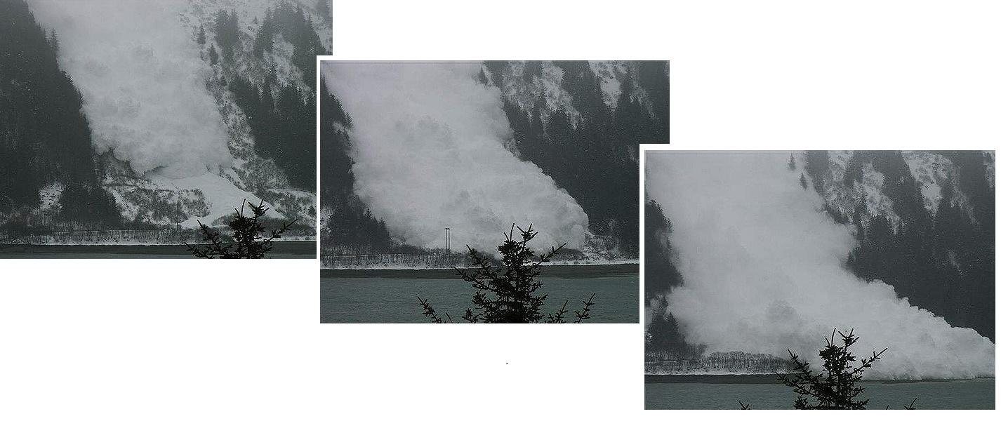 Irtolumivyöry saa usein alkunsa pienestä irtoavasta lumiosasesta, mutta lopulta se voi toisinaan kasvaa niin suureksi, että pystyy hautamaan allensa kokonaisen pienen kylän. (Kuva Flickr/Joseph)