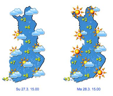 Ennuste pääsiäissunnuntaille ja -maanantaille (kuva: Foreca)