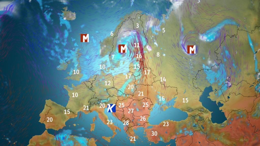Keskiviikkona lämmin syöttyövirtaus saapuu Suomeen Välimereltä saakka. Itäisessä Euroopassa ja Balkanilla mitataan monin paikoin kesäisiä lukemia. / kuva Markus M. & MTV Uutiset