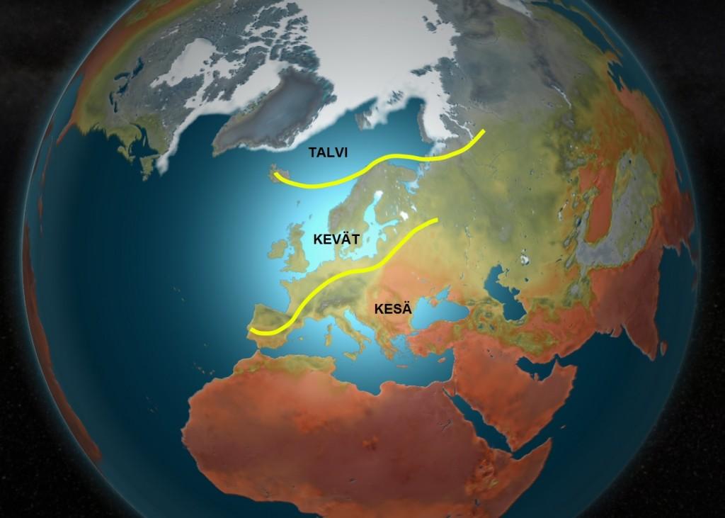 Kuva 3: Lähitulevaisuuden suursäätila Euroopassa. Kesäinen lämpö suuntautuu Välimereltä kohti koillista juuri ja juuri Suomen rajojen eteläpuolelta. Keväisellä puolella sää on vaihtelevaa ja ajoittain sateista. Takatalvi ei näyttäisi uhkaavan Suomea. / kuva Markus M. & MTV Uutiset