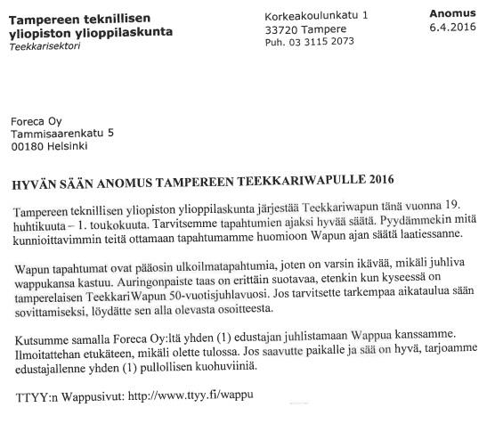 Kuva: Foreca / Tampereen teekkarit