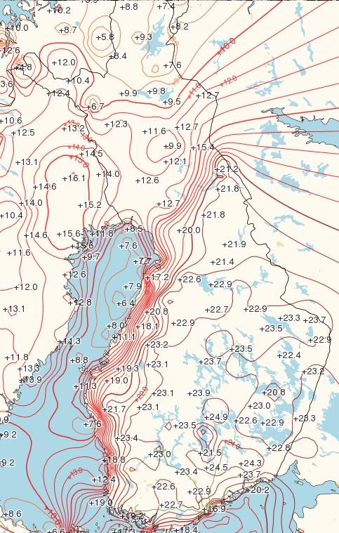 Lämpötilat iltapäivällä 24.5.2016 (Kuva: Foreca)