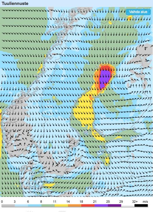 Keskiviikon ja torstain välisen yön tuuli (Kuva: Foreca)