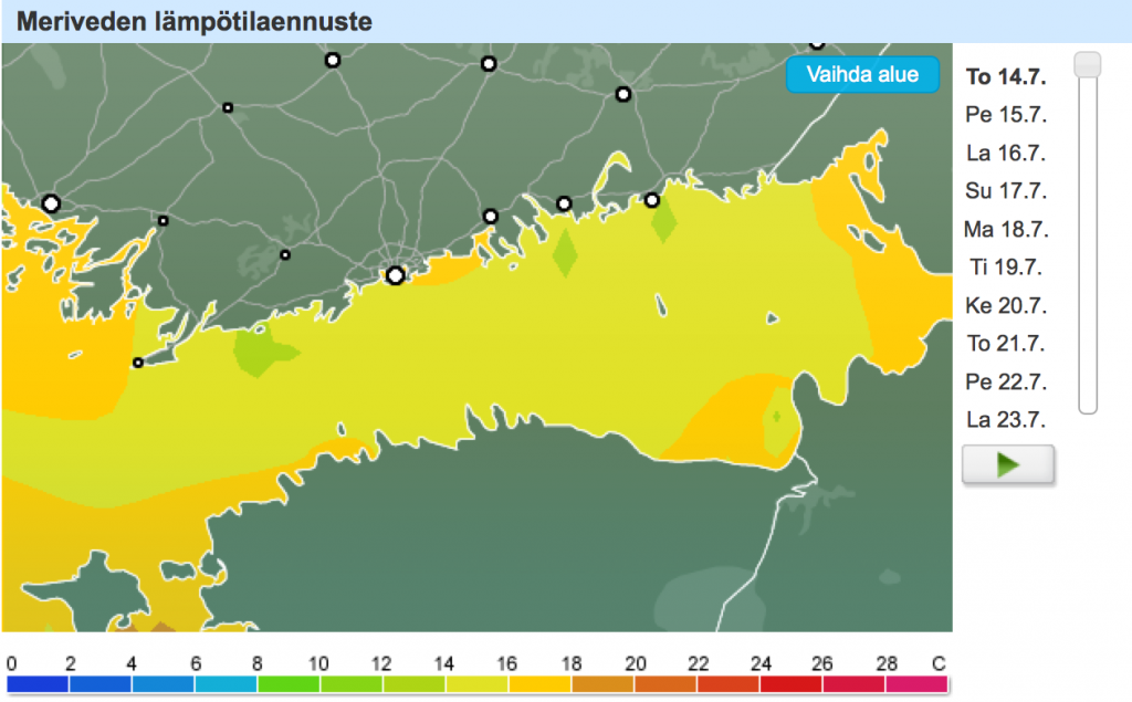 Kumpuamisilmiön seurauksena kylmentynyt pintavesi Suomenlahden pohjoisosassa näkyy myös tästä merivesilämpötila-animaatiosta. Lisätietoa meriveden lämpötilaennusteista täältä!