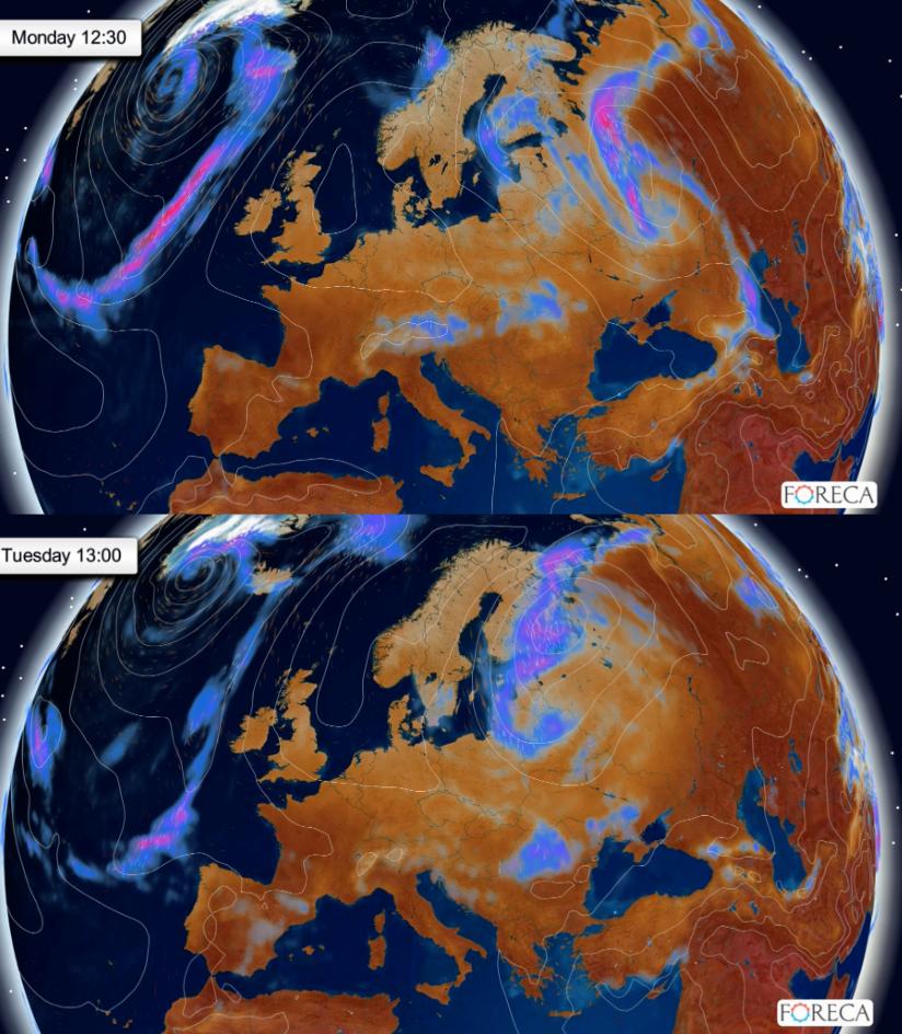 Maanantain ja tiistain sääennuste (Kuva: Foreca)