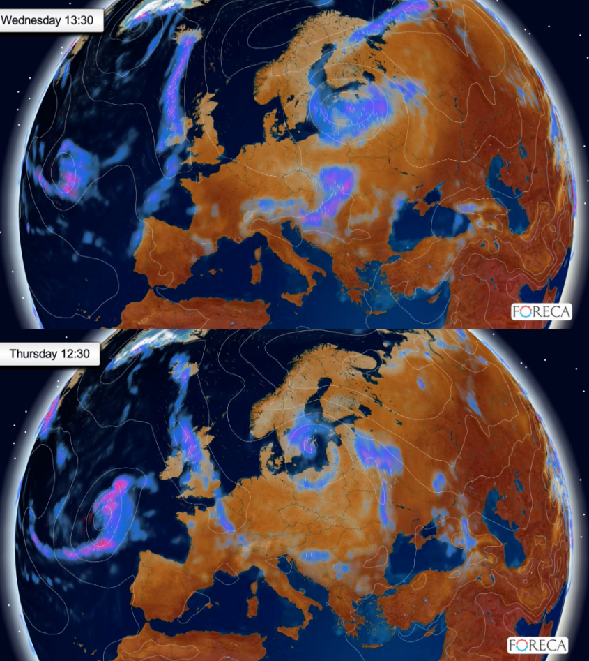 Keskiviikon ja torstain sääennuste (kuva: Foreca)