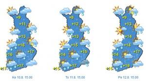 Ennuste keskiviikosta perjantaihin (Kuva: Foreca)