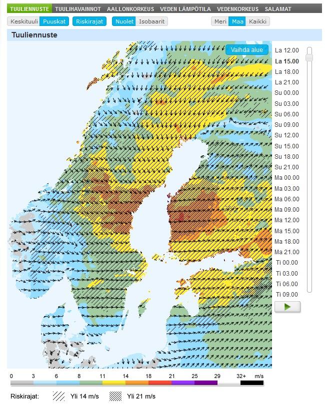 Puuskat riskirajoineen maa-alueilla (Kuva: Foreca)
