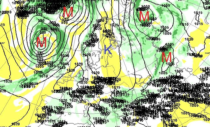Syyskuun toisen viikonlopun 850 hPa-painepinnan ennuste (Kuva: Foreca)
