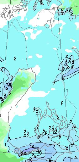 Vuorokauden sademäärä (lumisade suurinpiirtein senteissä) torstain alkuun mennessä (Kuva: Foreca)