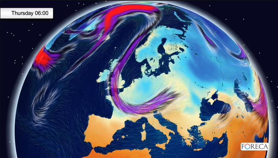 Suihkuvirtaukset Euroopan yllä tällä hetkellä. Kuva: Foreca