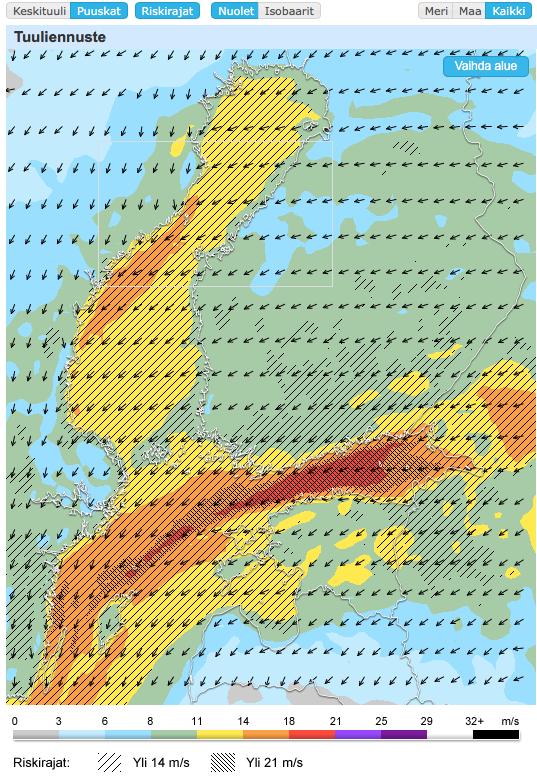 Tuulenpuuskaennuste iltapäivälle ma 7.11.2016 (kuva: Foreca)