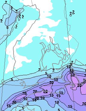 Lumisateen kertymäennuste (suurinpiirtein senttimetreissä) ma 7.11. klo 14 - ti 8.11. klo 14 (kuva: Foreca)
