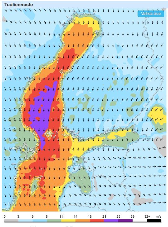 Tuuliennuste sunnuntai-iltapäivälle (Kuva: Foreca)