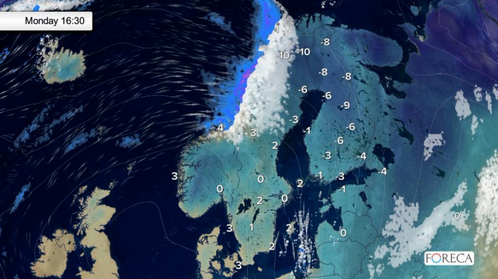 Sääennuste ensi maanantaille (Kuva: Foreca)