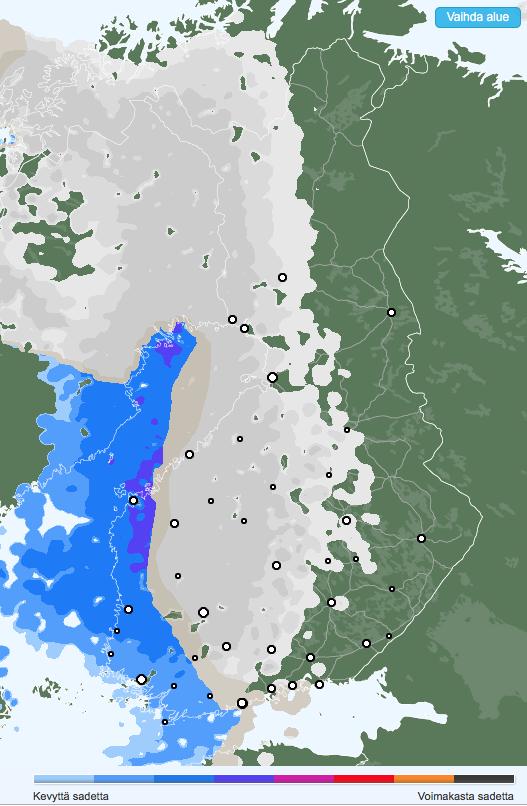 Sateet perjantain ja lauantain välisenä yönä. Lumisade muuttuu etelässä ja lännessä vesisateeksi. (Kuva: Foreca)