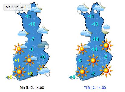 Sääennuste alkuviikoksi (kuva: Foreca)