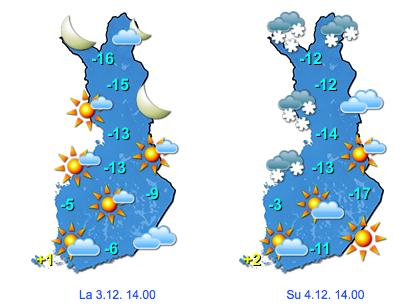 Sääennuste viikonlopuksi (Kuva: Foreca)