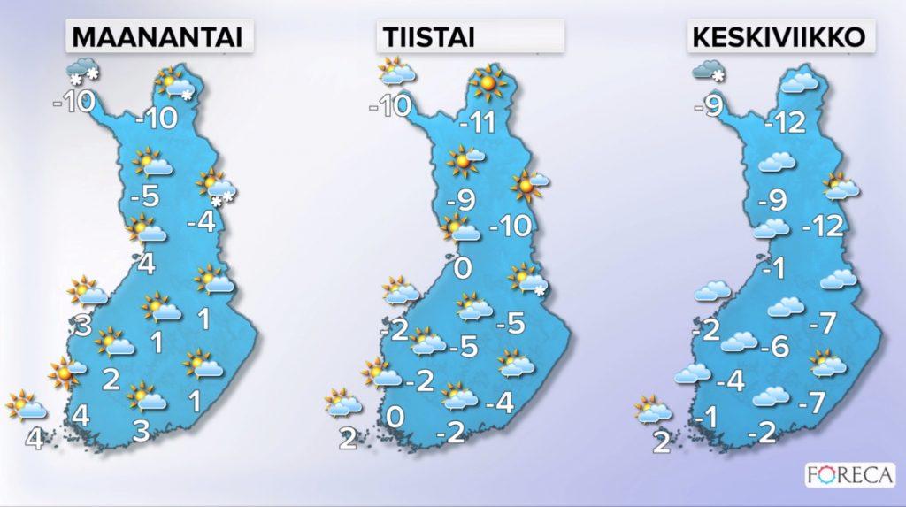 Ensi viikon sääennuste (Kuva: Foreca)