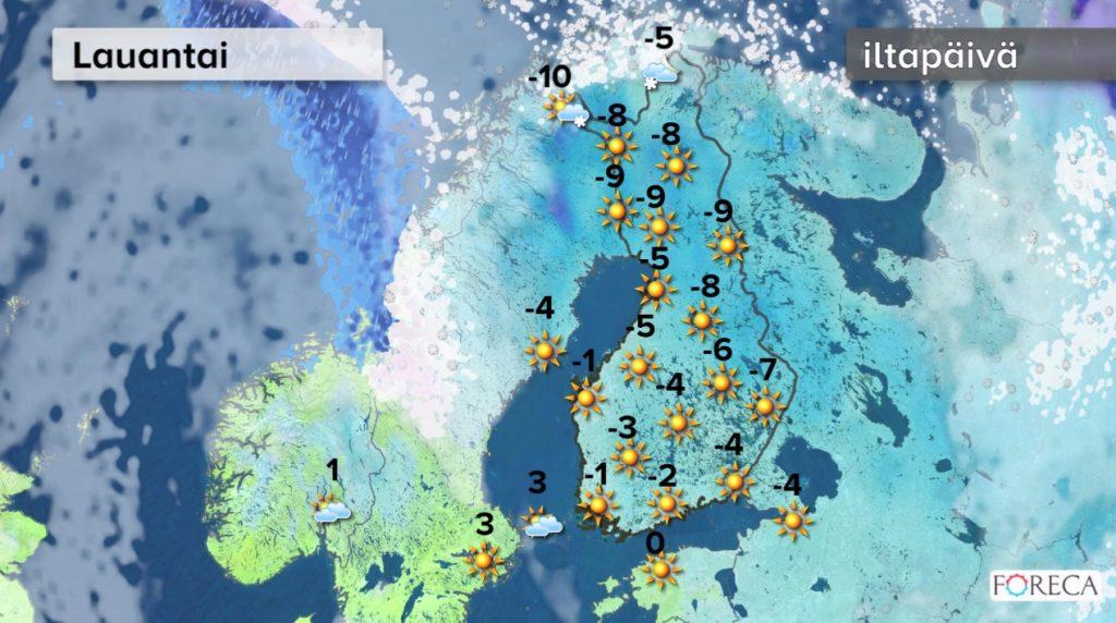 Lauantain sääennuste (Kuva: Foreca)
