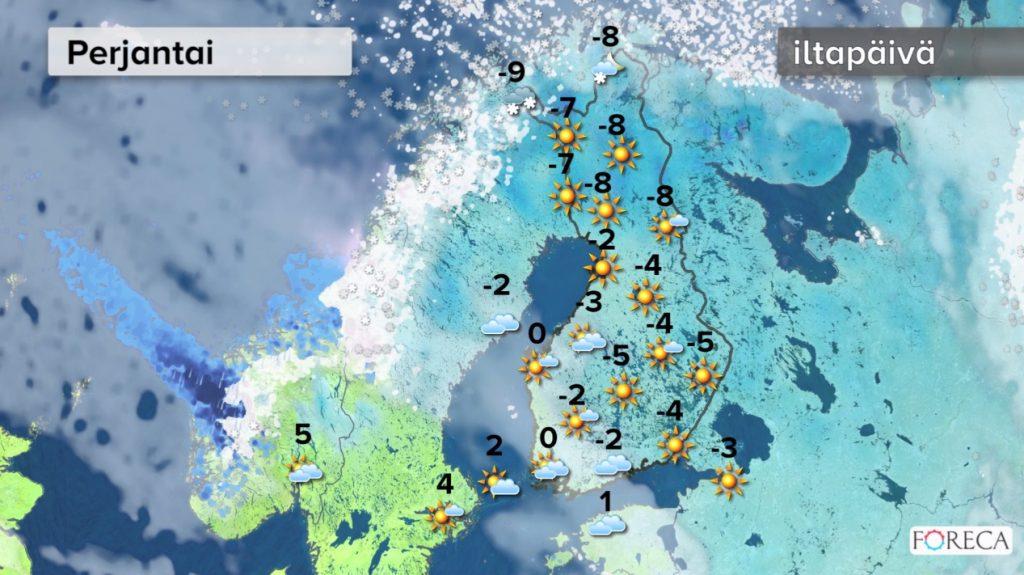 Perjantain sääennuste (Kuva: Foreca)