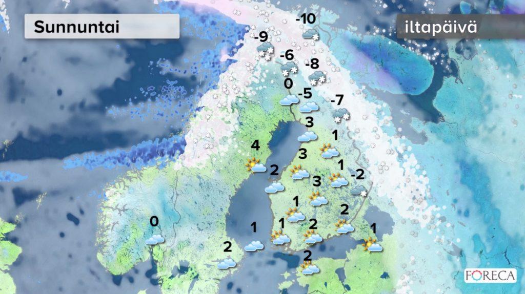 Sunnuntain sääennuste (Kuva: Foreca)