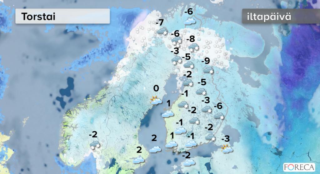 Sääennuste torstaiksi (Kuva: Foreca)